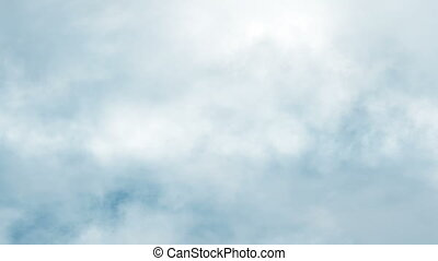 blauwe , b, wolken, hemel, motie, voorwaarts