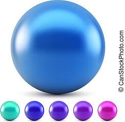 blauwe bal, vrijstaand, illustratie, kleuren, vector, glanzend, achtergrond, witte , koude, samples.