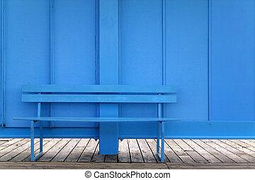 blauwe , bankje