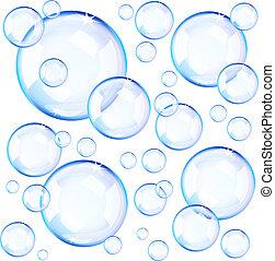 blauwe , bellen, transparant, zeep