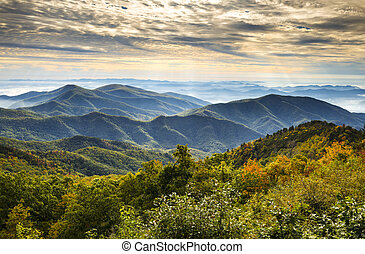 blauwe bergen, kam, landschap, nationale, nc, park, herfst, asheville, zonopkomst, westelijk, noorden, snelweg, landscape, carolina