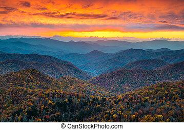 blauwe bergen, kam, landschap, ondergaande zon , landsc, noorden, snelweg, carolina