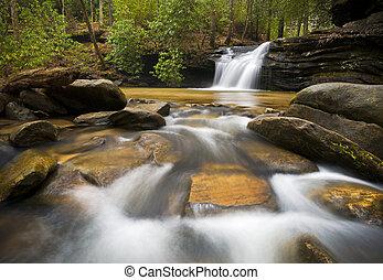 blauwe bergen, kam, relaxen, natuur, fotografie, vredig, water, waterval, vloeiend, sc, beeld, landscape