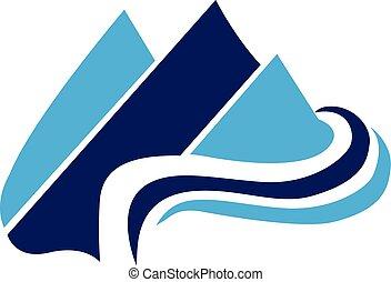 blauwe bergen, web, vector, logo, pictogram