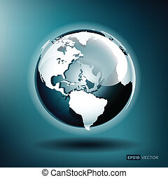 blauwe bol, illustratie, vector, glanzend, achtergrond