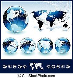 blauwe , bollen, wereldkaart