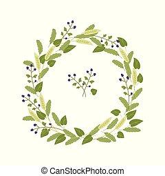 blauwe , braambessen, bladeren, krans, groene achtergrond, witte