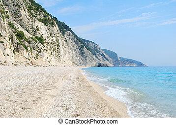 blauwe , breed, schoonmaken, strand, lang, zee, afgronden, steil