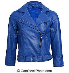 blauwe colbert, leder