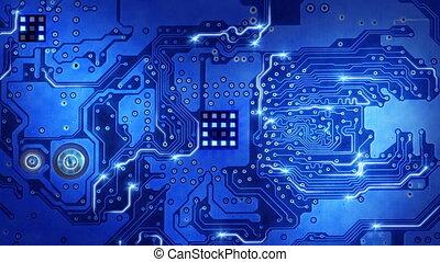 blauwe , computer plank, circuit, lus