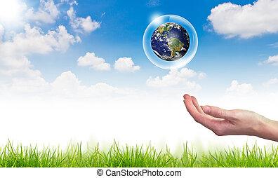 blauwe , concept, eco, zon, globe, hemel, tegen, hand, :, bellen, houden