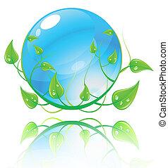 blauwe , concept., illustratie, milieu, vector, groene