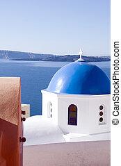 blauwe , cyclades, classieke, eiland, op, middellandse zee, koepel, oia, beroemd, griekse , santorini, architectuur, zee, kerken