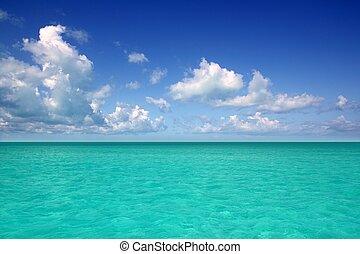 blauwe , de caraïben, horizon, hemel, vakantie, zee, dag