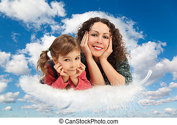 blauwe , dochter, collage, pluizig, witte , hemel, moeder, wolken, veer