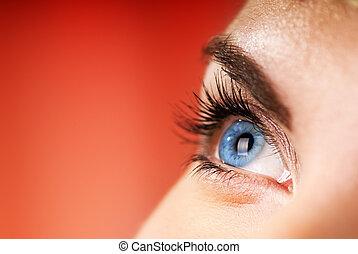 blauwe , dof), oog, (shallow, achtergrond, rood