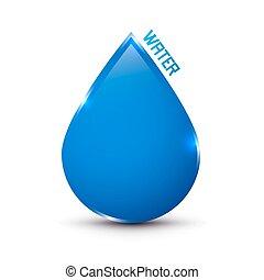 blauwe , druppel, vrijstaand, water, witte , pictogram