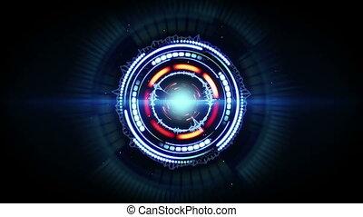 blauwe , futuristisch, vorm, animatie, rood, circulaire, lus, gloed