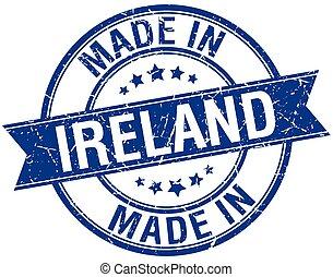 blauwe , gemaakt, postzegel, ouderwetse , ierland, ronde
