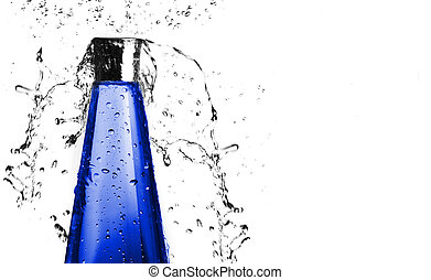 blauwe , gespetter, fles