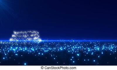blauwe , gloeiend, boompje, kerstmis