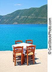 blauwe , gr, het dineren, stoelen, taverna, griekse , zee, tafel