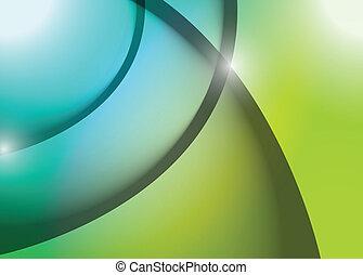 blauwe , grafisch, lijnen, illustratie, golf, groene