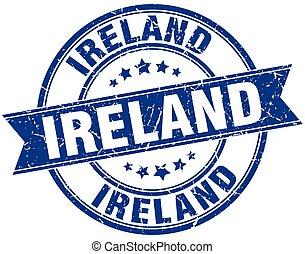 blauwe , grunge, postzegel, ouderwetse , ierland, ronde, lint