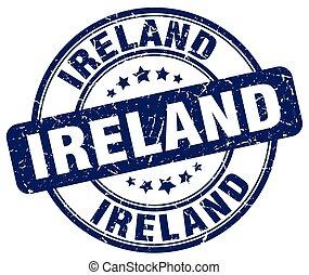 blauwe , grunge, postzegel, ouderwetse , rubber, ierland, ronde