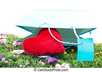 blauwe , hart, bloem, shoppen , weide, zak, rood