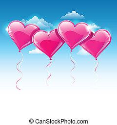blauwe , hart formeerde, hemel, op, illustratie, vector, ballons