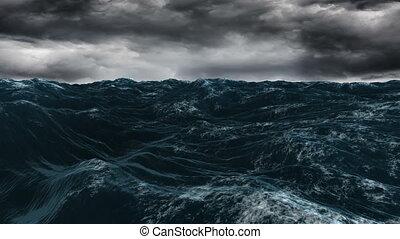 blauwe hemel, oceaan, onder, donker, stormachtig