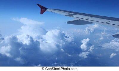 blauwe hemel, omhoog tegen, schaaf, afsluiten, vleugel