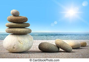 blauwe hemel, tegen, rotsen, hout, spa, stapel