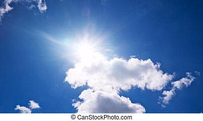 blauwe hemel, witte , vliegen, wolken