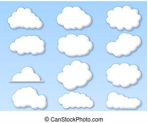 blauwe hemel, wolken, bewolkt