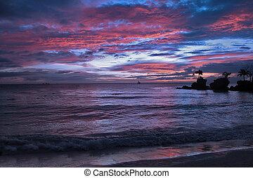 blauwe hemel, zand, ondergaande zon , thailand, witte