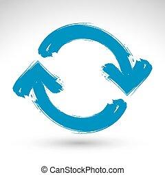blauwe , herhalen, eenvoudig, multimedia, update, verversen, vrijstaand, achtergrond, borstel, hand, symbool., getrokken, witte , meldingsbord, navigatie, tekening, icon., hand-geverfd