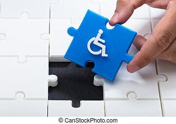 blauwe , het oplossen, raadsel, jigsaw, hand, menselijk, stuk