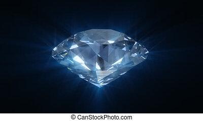 blauwe , het spinnen, diamant, het glanzen