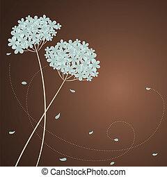blauwe , hortensia, begroetende kaart