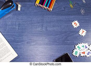 blauwe , houten, voorwerpen, kantoor, tafel
