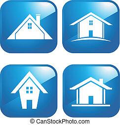 blauwe , huisen, pictogram