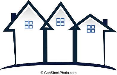 blauwe , huisen, vastgoed, logo
