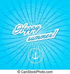 blauwe , illustration., vector, achtergrond, water., anchor.