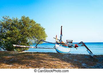 blauwe , indonesisch, traditionele , zee, strand, scheepje