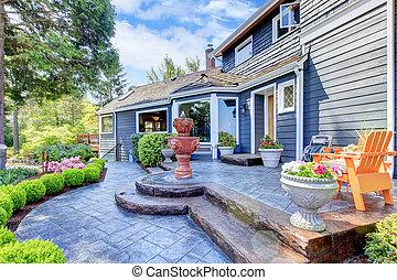 blauwe , ingang, woning, fontijn, patio., aardig