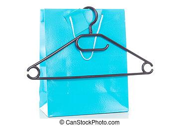 blauwe jas, hanger, winkeltas