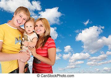 blauwe , jongen, wolken, gezin, collage, pluizig, hemel, witte