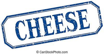 blauwe kaas, plein, grunge, ouderwetse , vrijstaand, etiket